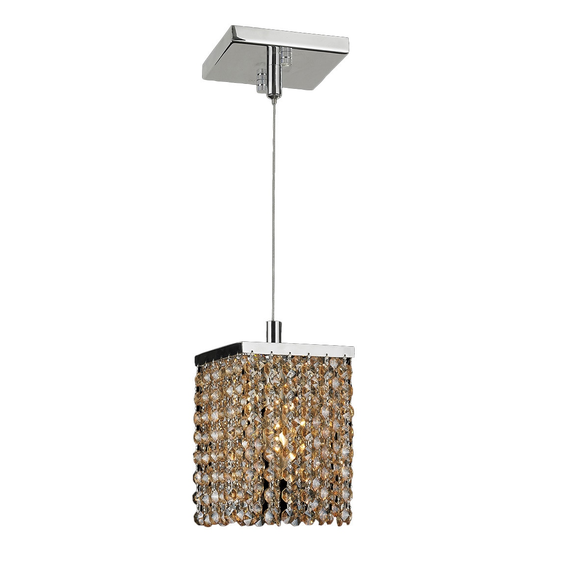 Contemporary Modern 1-light Chrome Finish and Amber Cryst...