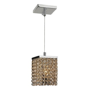 Contemporary Modern 1-light Chrome Finish and Amber Crystal String Square 4 x 8.5-inch Mini-pendant