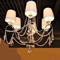 "Elegant 6 Light Chrome Finish Crystal with Ivory Silk Shade Chandelier Large 26"" x 27"""