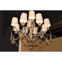 "Elegant 12 Light Chrome Finish Crystal Ivory Silk Shade Chandelier Two 2 Tier Large 35"" x 35"""