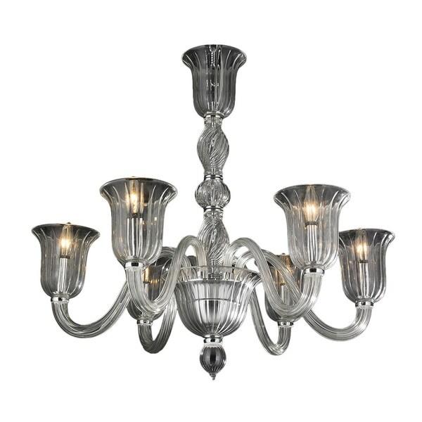 Murano Italian Style 6 Lightsb Lown Glass In Golden Teak Finish