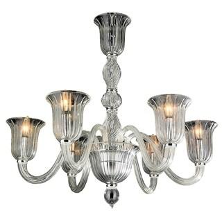 """Murano Venetian Italian Style 6 Light Blown Glass in Clear Finish Chandelier Large 31"""" x 28"""""""