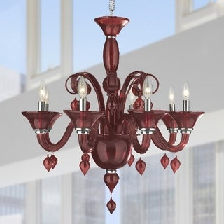 "Murano Venetian Italian Style 8 Light Blown Glass in Cranberry Finish Chandelier Large 27"" x 27"""