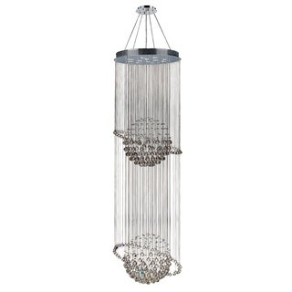 """Galaxy 12 Light Chrome Finish and Clear Crystal Modern Chandelier Two 2 Tier Large 28"""" Wide x 96"""" Long"""