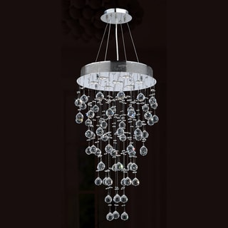 "Modern Contemporary 7 Light Chrome Finish and Clear Crystal Ball Prism Chandelier Medium 18"" Round x 32"" Long"