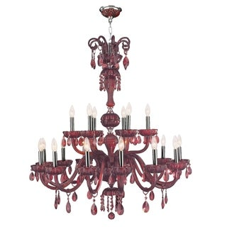 """Venetian Italian Style 18 Light Chrome Finish and Cranberry Crystal Chandelier Large Two 2 Tier 36"""" x 39"""""""