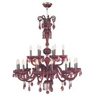 "Venetian Italian Style 18 Light Chrome Finish and Cranberry Crystal Chandelier Large Two 2 Tier 36"" x 39"""