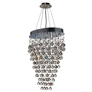 """Modern Contemporary 8 Light Chrome Finish and Clear Crystal Ball Prism Chandelier Large 24"""" Oval Shape"""
