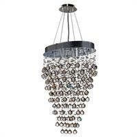 "Modern Contemporary 8 Light Chrome Finish and Clear Crystal Ball Prism Chandelier Large 24"" Oval Shape"