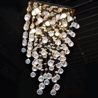 """Modern Contemporary 5 Light Chrome Finish and Clear Crystal Ball Prism Chandelier Mini 16"""" Square Shape"""