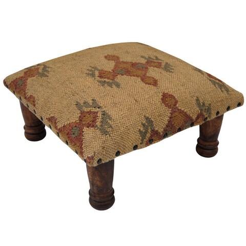 Handmade Herat Oriental Indo Wool/ Jute Upholstered Wooden Footstool (India)