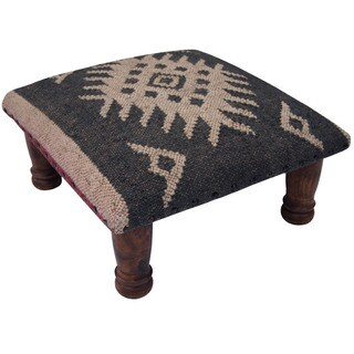 Herat Oriental Indo Handmade Wool/ Jute Upholstered Wooden Footstool