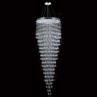 """Modern Contemporary 16 Light Chrome Finish and Clear Crystal Ball Prism Chandelier Large 32"""" Round x 96"""" Long"""