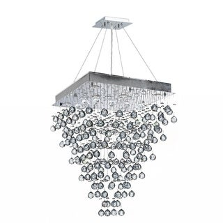 """Modern Contemporary 8 Light Chrome Finish and Clear Crystal Ball Prism Chandelier Large 24"""" Square Shape"""