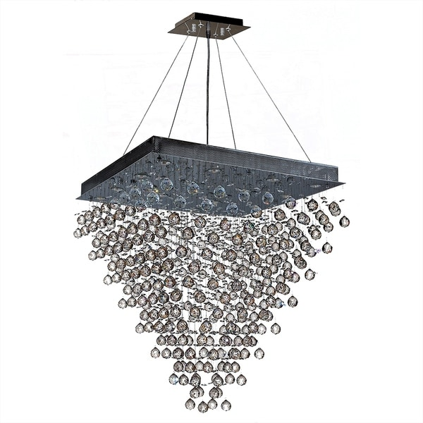 Modern Contemporary 16 Light Crystal Ball Prism Pendant Chandelier Large 32 Square Shape X 36