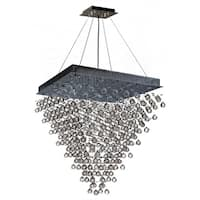 """Modern Contemporary 16 Light Chrome Finish and Clear Crystal Ball Prism Chandelier Large 32"""" Square Shape"""