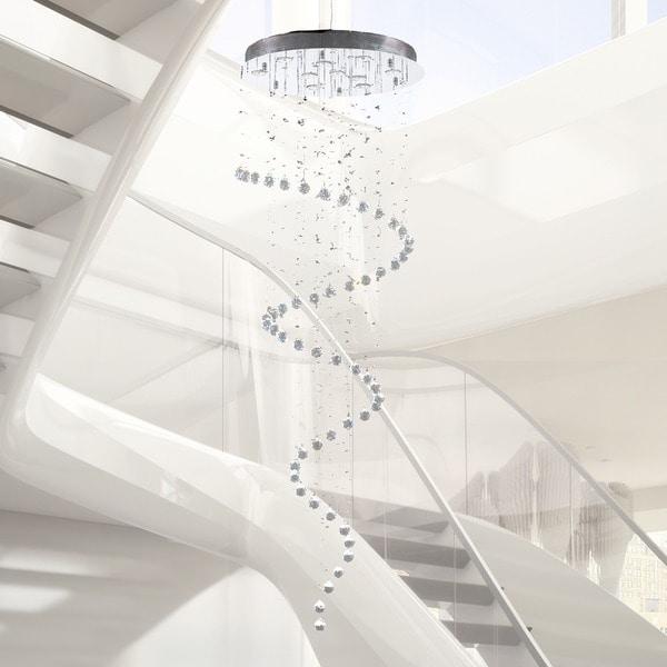 2016 Modern Crystal Lamps Spiral Rain Drop Lighting Chandelier Modern Crystal Chandelier Elegant Lighting Staircase Lighting Chandeliers