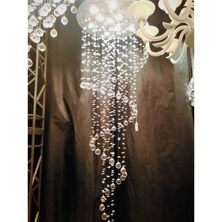 "Modern Contemporary 10 Light Chrome Finish and Clear Crystal Spiral Rain Drop Chandelier Large 24"" Round x 72"" Long"