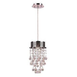 """Modern Contemporary 1 Light Chrome Finish and Clear Crystal Mini Pendant 8"""" x 14"""""""