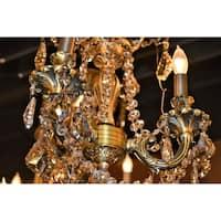 Italian Elegance 3 Light Antique Bronze  Finish and Golden Teak Crystal Traditional Chandelier Mini