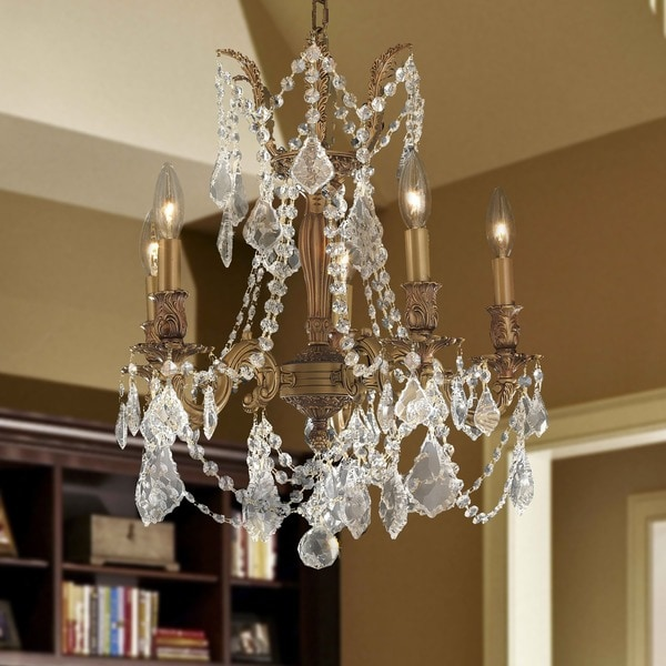 Love The Wall Finishes Chandelier And The Overall Tuscan: Shop Italian Elegance 5 Light French Gold Finish And Clear