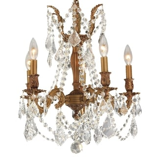 "Italian Elegance 5 Light French Gold Finish and Clear Crystal Traditional Chandelier Medium 18"" x 19"""