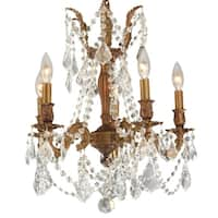 """Italian Elegance 5 Light French Gold Finish and Clear Crystal Traditional Chandelier Medium 18"""" x 19"""""""