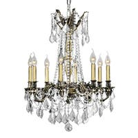 """Italian Elegance 8 Light Antique Bronze Finish and Clear Crystal Traditional Chandelier Large 24"""" x"""