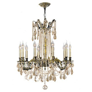 "Italian Elegance 10 Light Antique Bronze Finish and Golden Teak Crystal Traditional Chandelier Large 28"" x 31"""
