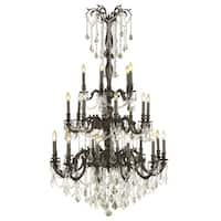 Italian Elegance 25 Light Flemish Brass Finish and Clear Crystal Traditional Chandelier Large Three