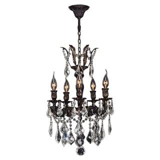Italian Elegance 5 Light Flemish Brass Finish with Clear Crystal Chandelier