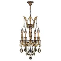 "French Imperial Collection 5 Light Antique Bronze Finish and Golden Teak Crystal Traditional Chandelier Mini 13"" x 23"""