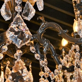 """French Imperial Collection 10 Light Flemish Brass Finish and Clear Crystal Traditional Chandelier Large 26"""" x 29"""""""