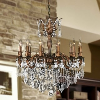 """French Imperial Collection 12 Light French Gold Finish and Clear Crystal Traditional Chandelier Large 27"""" x 30"""""""