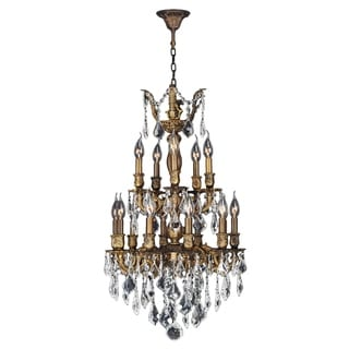 French Imperial Collection 15 Light Antique Bronze Finish and Clear Crystal Traditional Chandelier M
