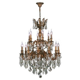 "French Imperial Collection 18 Light French Gold Finish and Clear Crystal Traditional Chandelier Large Two 2 Tier 27"" x 38"""