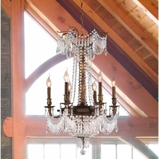 "Regal Estate Collection 9 Light Antique Bronze Finish and Clear Crystal Traditional Chandelier Medium 20"" x 29"""