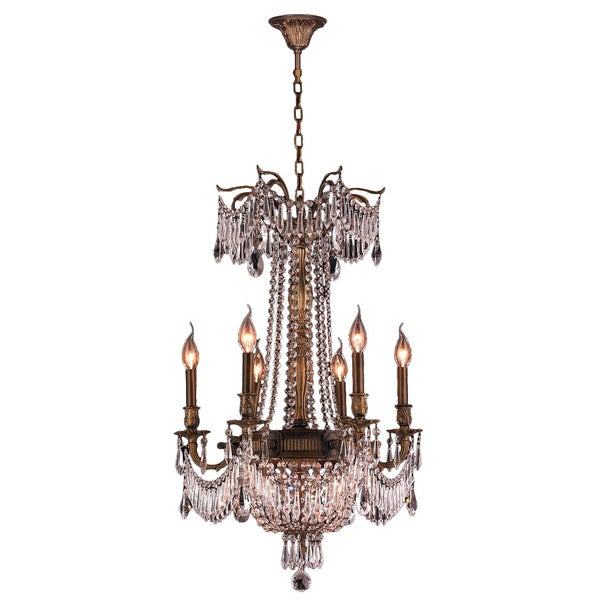 Light Antique Bronze Finish And Clear Crystal Traditional Chandelier