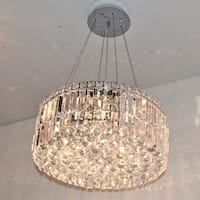 """Contemporary 12 Light Chrome Finish and Faceted Clear Crystal Medium Chandelier 20"""" Round"""