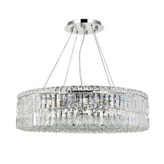 "Contemporary 12 Light Chrome Finish and Faceted Clear Crystal Large Chandelier 28"" Round"