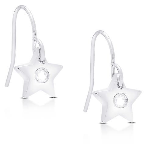 Dolce Giavonna Sterling Silver Cubic Zirconia Star Shaped Dangling Earrings