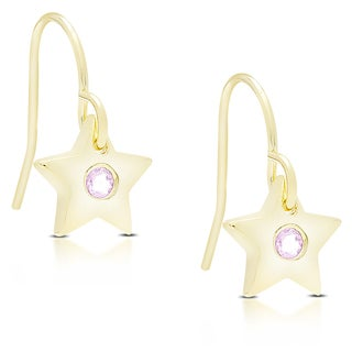 Dolce Giavonna Gold Over Sterling Silver Gemstone Star Shaped Dangling Earrings