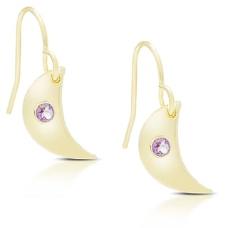 Dolce Giavonna Gold Over Sterling Silver Gemstone Moon Shaped Dangling Earrings