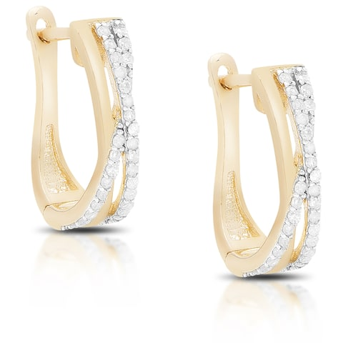 Finesque Gold Over Silver or Sterling Silver 1/3 Ct TDW Infinity Design Diamond Hoop Earrings