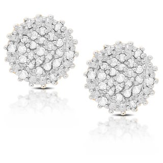 Finesque Sterling Silver 1/4 Ct TDW Diamond Stud Earrings