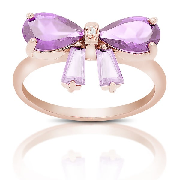 Dolce Giavonna Gold Over Silver Gemstone Bow Design Ring