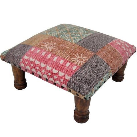 "Indo Handmade Printed-Cotton Wood Ottoman Footstool (India) - 16"" x 16"" x 6"""