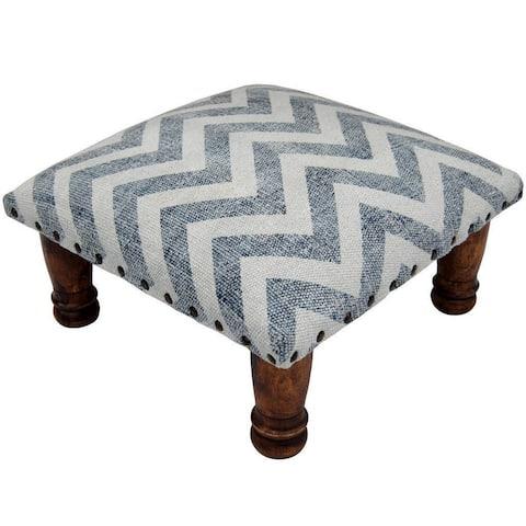"Handmade Printed Cotton Wood Ottoman Footstool (India) - 16"" x 16"" x 6"""