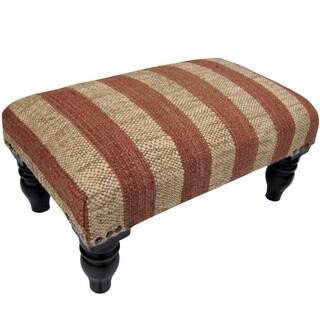 Handmade Herat Oriental Indo Jute Upholstered Wooden Stool (India)