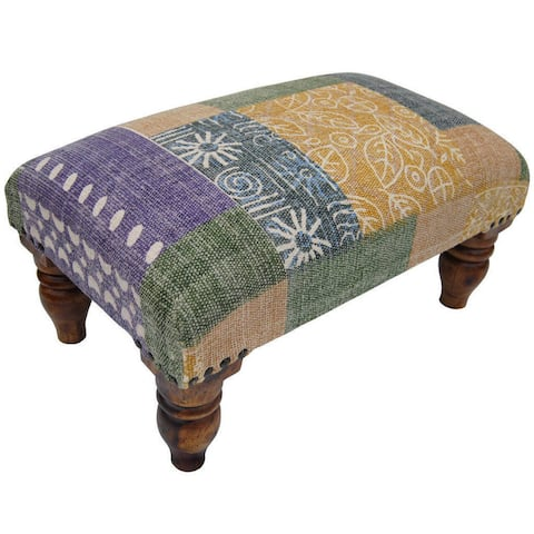"Handmade Printed-cotton Wood Ottoman Footstool (India) - 20"" x 12"" x 10"""